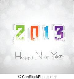 素晴らしい, カラフルである, ベクトル, 2013, 年, 新しい, カード, 幸せ