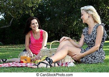 素晴らしい, ピクニック, 女性, 友人