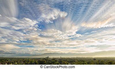 素晴らしい, 絵のよう, sky., 曇っている, 現場, 朝, 劇的, 光景