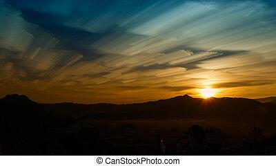 素晴らしい, 絵のよう, sky., 曇っている, 現場, 朝, 暗い, 劇的, 光景