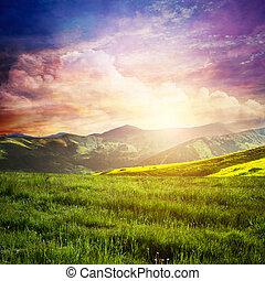素晴らしい, sky., 草, 緑の風景, fairtytale, 日没, 山