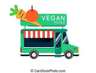 素食主義者食物, 卡車, 城市, 汽車。, 素食主義者食物, 行家, 卡車, 汽車, 咖啡館, 流動, 廚房, 熱,...