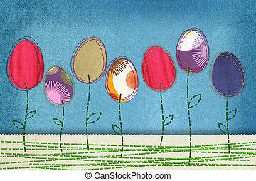 紡織品,  eggs-flowers, 復活節