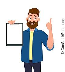 索引, クリップボード, 指すこと, イラスト, 漫画, finger., ベクトル, ブランク, style., holding/showing, 人