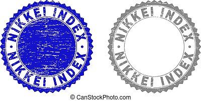 索引, グランジ, 切手, nikkei, シール, textured