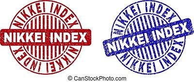 索引, グランジ, 切手, nikkei, シール, textured, ラウンド