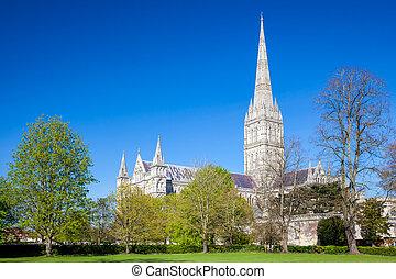 索爾茲伯里大教堂, 威爾特郡, england, 英國