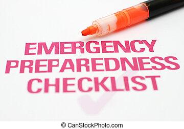 紧急事件, 清单