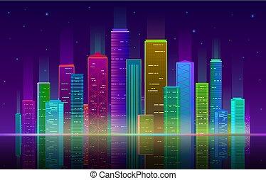 紫色の背景, 夜, ネオン, 明るい, 超高層ビル, 青, 都市の景観, パノラマ, city., ライト, 白熱, 未来派, ベクトル