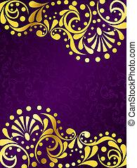 紫色の背景, 線条細工, 金, 縦