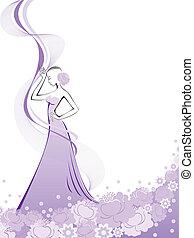 紫色の花, 女