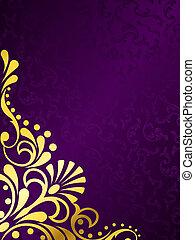 紫色的背景, 金絲的細工飾品, 金, 垂直