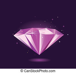 紫色, –, ダイヤモンド, ベクトル