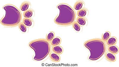 紫色, オレンジ, プリント, 足