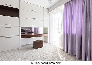 紫色, カーテン, 寝室