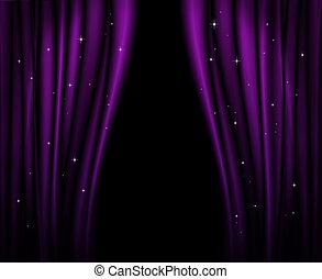 紫色, カーテン, stage.