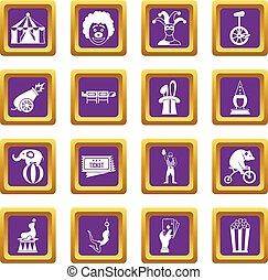 紫色, サーカス, セット, 催し物, アイコン