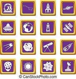 紫色, セット, スペース, アイコン