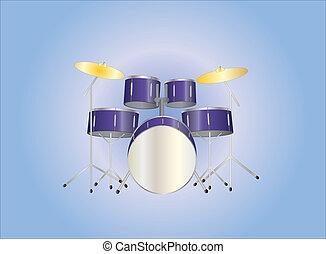 紫色, セット, ドラム