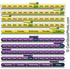 紫色, タイムライン, セット, チャート