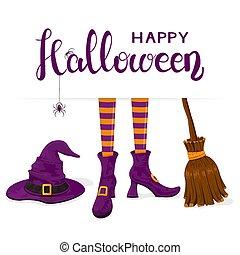 紫色, テキスト, ほうき, ハロウィーン, 魔女, 足, 帽子, 幸せ