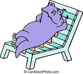 紫色, ドラゴン, 休息, a, デッキチェア