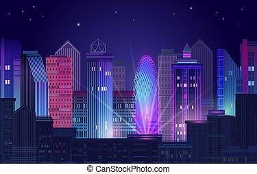 紫色, ネオン, 都市, パノラマ, 夜, 白熱, バックグラウンド。, vector.