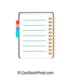 紫色, ノート, ベクトル, イラスト, 白, アイコン