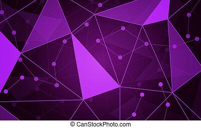 紫色, ハイテク, スタイル, 三角, 背景