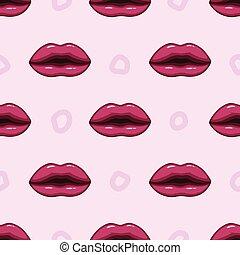 紫色, パターン, 唇, seamless, 背景