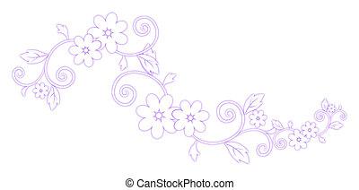 紫色, パターン, 花