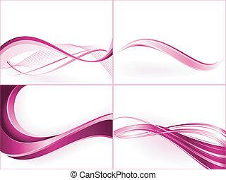 紫色, ピンク, 波, templates., 使用, の, 混ざり合う, 切り抜き, マスク, 線である,...