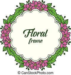 紫色, フレーム, イラスト, ベクトル, 招待, 花, カード