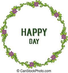 紫色, フレーム, イラスト, ベクトル, 招待, 花, 日, 幸せ
