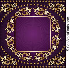 紫色, フレーム, 金, 背景
