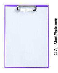 紫色, ペーパー, シート, 隔離された, paperclip