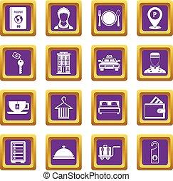 紫色, ホテル, セット, アイコン