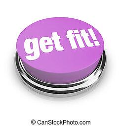 紫色, ボタン, -, フィットしなさい, 得なさい
