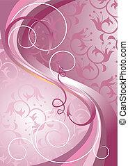 紫色, ライト, ストライプ, 波