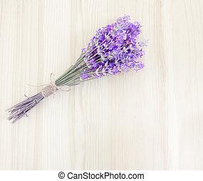 紫色, ラベンダー, 上に, wood.