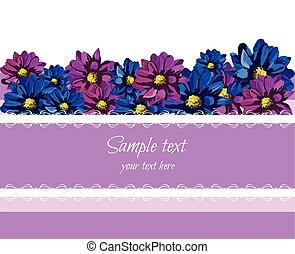 紫色, レース, カード, 挨拶