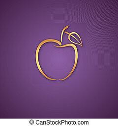 紫色, ロゴ, 上に, アップル