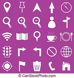 紫色, 地図の背景, アイコン