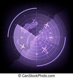 紫色, 地図, スクリーン, 飛行機, レーダー
