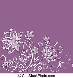 紫色, 型, 抽象的, space., 背景, 花, コピー