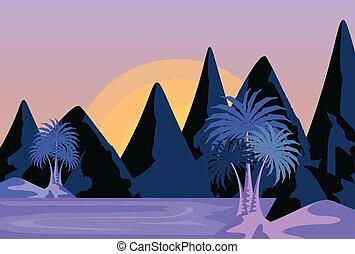 紫色, 夏, 浜, 風景, 空