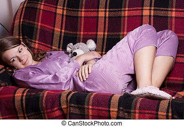 紫色, 女の子, パジャマ