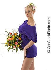 紫色, 女の子, 服