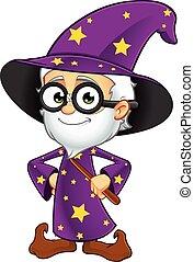紫色, 巫術師, 老