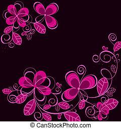 紫色, 抽象的, 花, 背景
